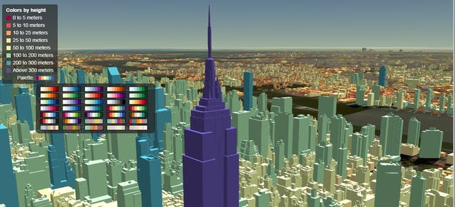 3D Tiles of city buildings colored based on their height
