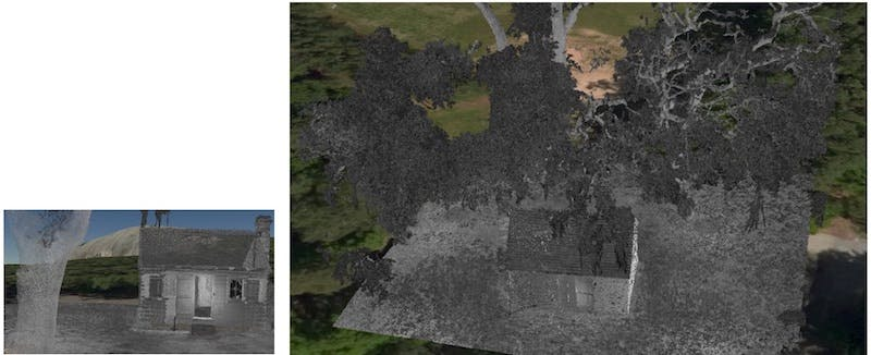 point cloud cabin with tree