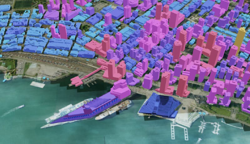 3D buildings tileset of Vancouver tiled via integration with Cesium ion in FME