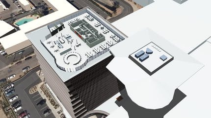 3D rendering in EdgyGeo of the top floor of a tall office building with its roof removed