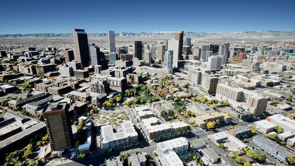2cm Photogrammetry of Denver, Colorado (provided by Aerometrex) visualized in Unreal Engine.