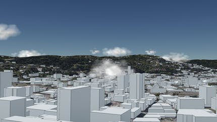 Clouds and Cesium OSM Buildings in Portland, Oregon