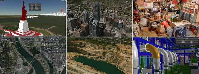 Six images illustrating common file types - 3D buildings showing the Statue of Liberty and Manhatten, photogrammetry of Philadelphia buildings, point clouds of an interior garage scene, satellite imagery of a city and river, 3D terrain of a water-filled construction dig, and a 3D model of the interior of a factory