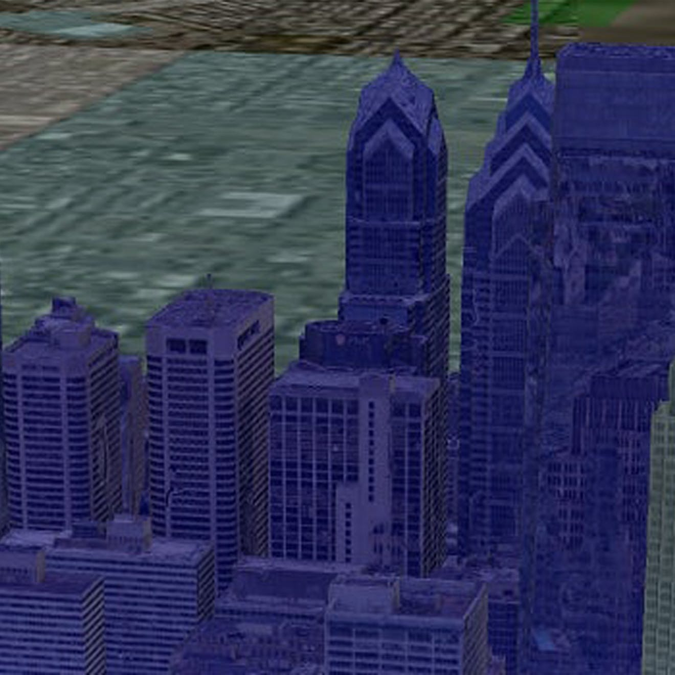 3D tiles heading image showing a 3D model of the Philadelphia skyline with buildings highlighted in purple, gray, and pink