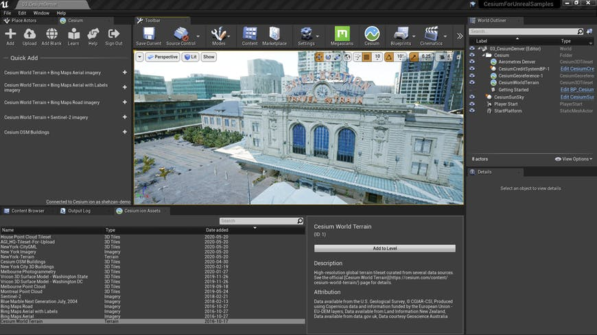 The Unreal Engine project interface, showing Cesium for Unreal listing the assets available on Cesium ion