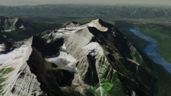 A mountain glacier in Cesium World Terrain