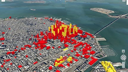 Colored 3D buildings in New York City