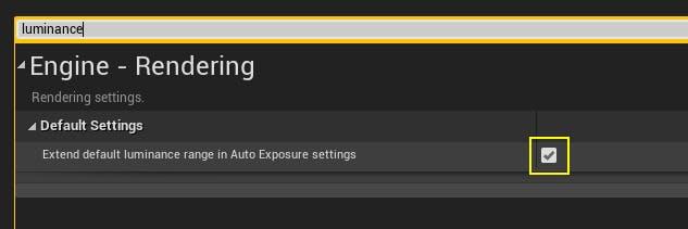 A screenshot of the Unreal Engine default luminance dialog