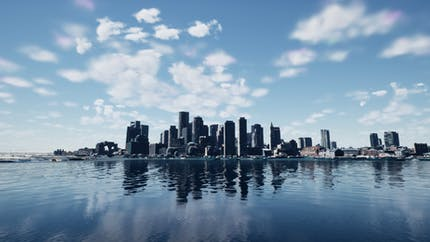 Boston skyline with 3D models created by Nearmap; shown with Cesium for Unreal