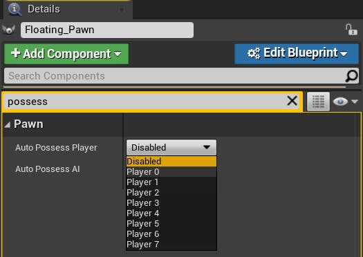 A screenshot of configuring the FloatingPawn in Unreal Engine