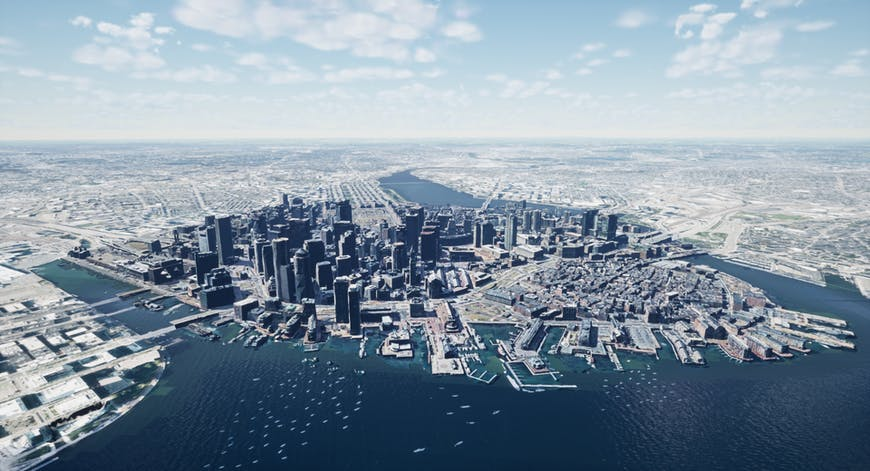 Boston aerial view with 3D models created by Nearmap; shown with Cesium for Unreal