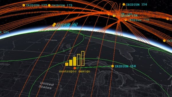 Screenshot of app in CesiumJS tracking Iridium satellites represented as yellow dots leaving red lines across the globe.