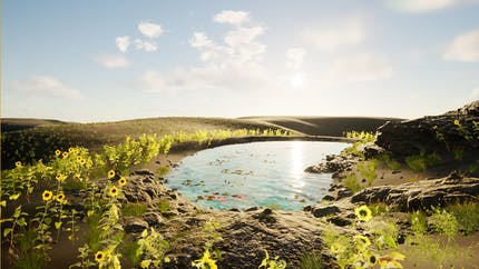Sunflowers at the edge of a pond in Unreal Engine