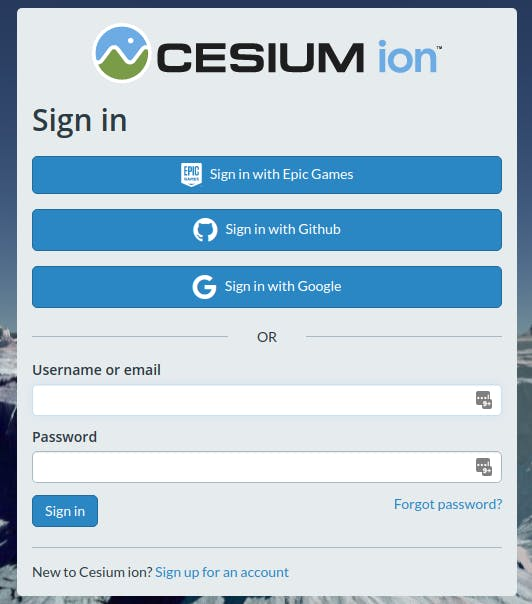 cesium ion sign in page
