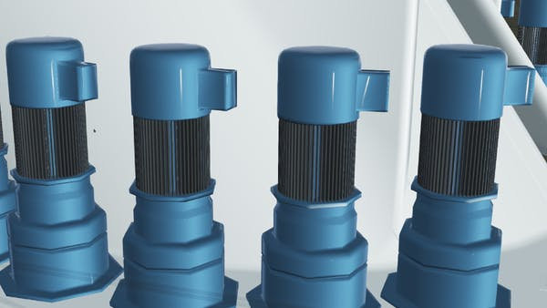 3D model of blue turbines on an assembly line. The tiler preserves materials and geometry of the design model.