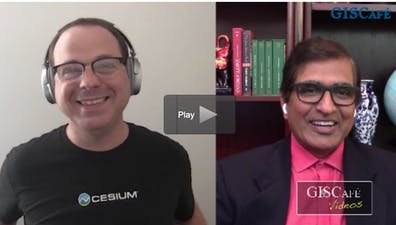 Cesium CEO Patrick Cozzi and host Sanjay Gupta on the GisCafe Bunker Broadcast