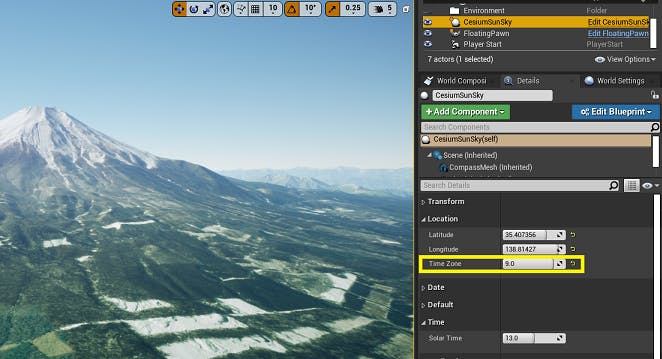 UE Editor Time Zone control for CesiumSunSky