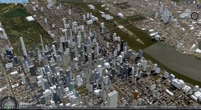 Screenshot of demo showing Cesium and Kaarta's proposed solution for dense urban environments.