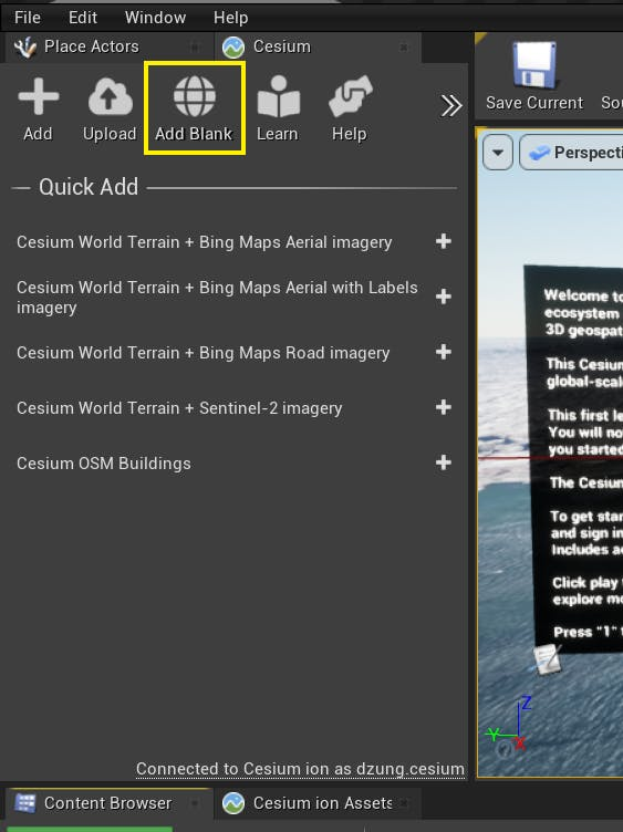 The Cesium for Unreal Editor with the Add Blank button highlighted