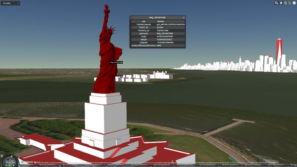 Statue of Liberty from New York City DoITT CityGML, displayed with per-feature metadata in CesiumJS.