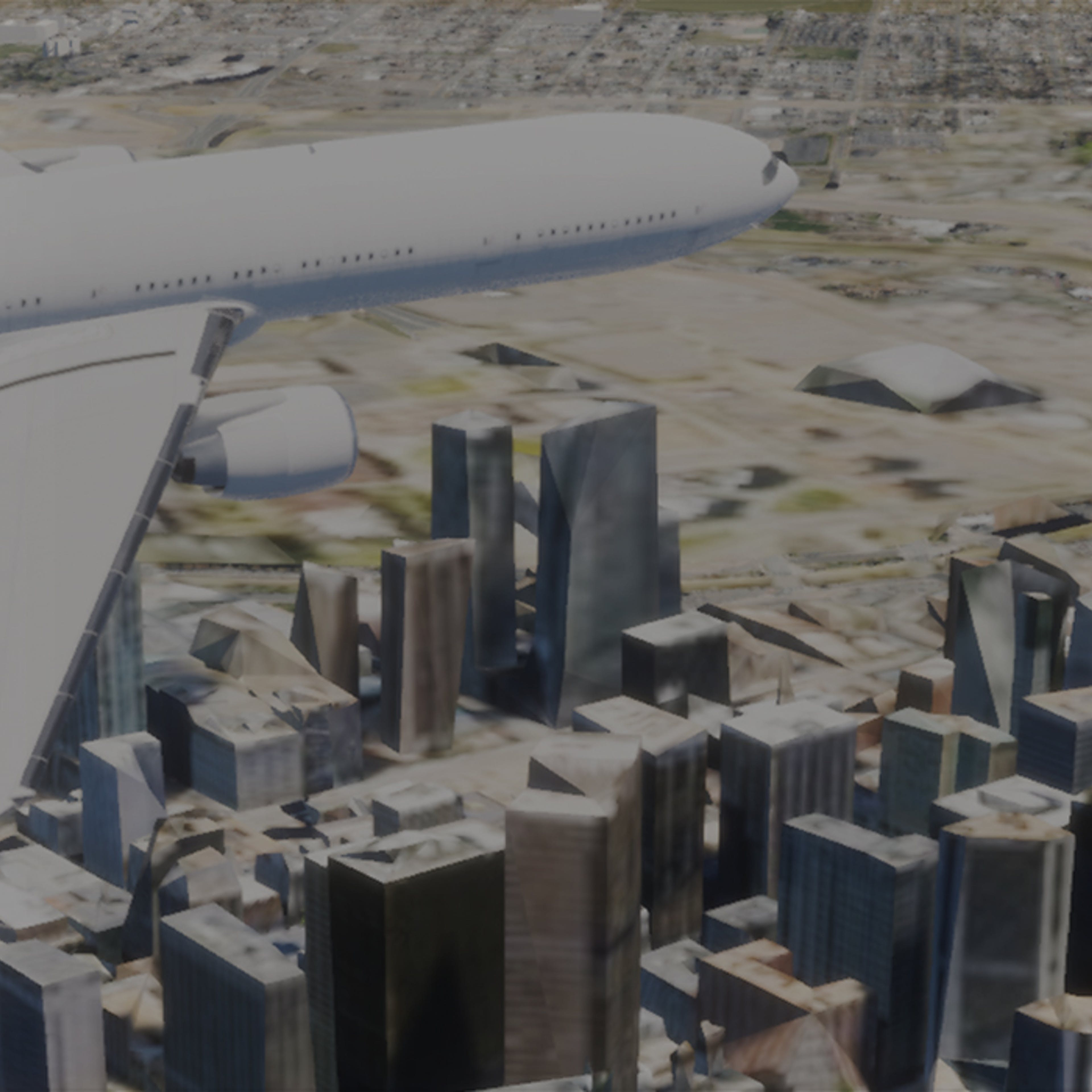 Aerial view of white plane model flying over Denver in Unreal Engine