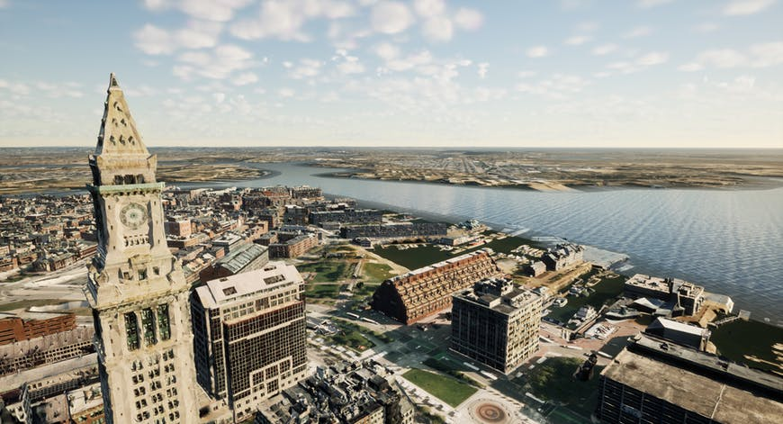 Custom House Tower, Boston MA, with 3D models created by Nearmap; shown with Cesium for Unreal