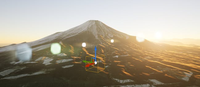 The effect of the Lens Flare Intensity control in UE Editor