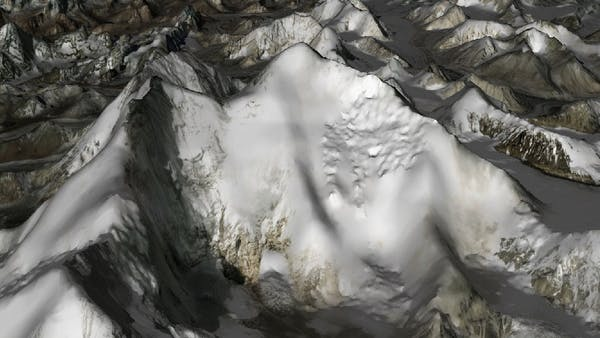 Screenshot of mountain terrain visualized in CesiumJS