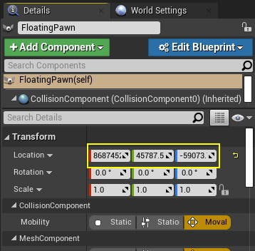 Screenshot of the FloatingPawn actor configuration dialog in Unreal Engine