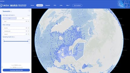 A screenshot of the Maris web site, showing the globe with blue dots in water to represent locations of seawater samples, and a form for filtering what's displayed. An irregular shape covering part of northern Europe has been selected by the user.