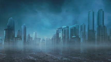 Apocalyptic cityscape in shades of blue