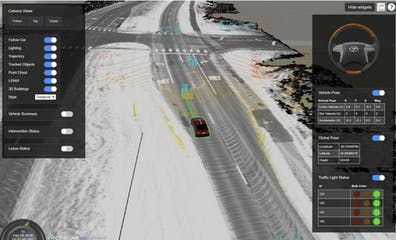 The CesiumJS user interface showing a car on a highway and pop up dialogs to control and display data related to an autonomous vehicle
