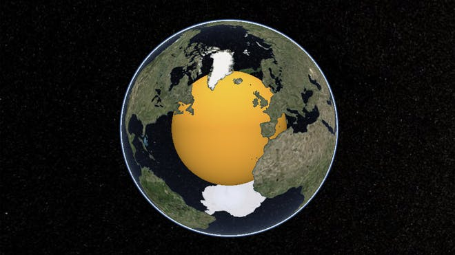 The globe, with the oceans transparent so the orange core is visible