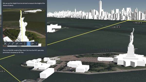 Screenshot of Cesium Stories showing measurement tools being used to measure the distance from Ellis Island to New York City and the height of the Statue of Liberty