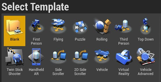 A screenshot of the Unreal Engine template selector dialog