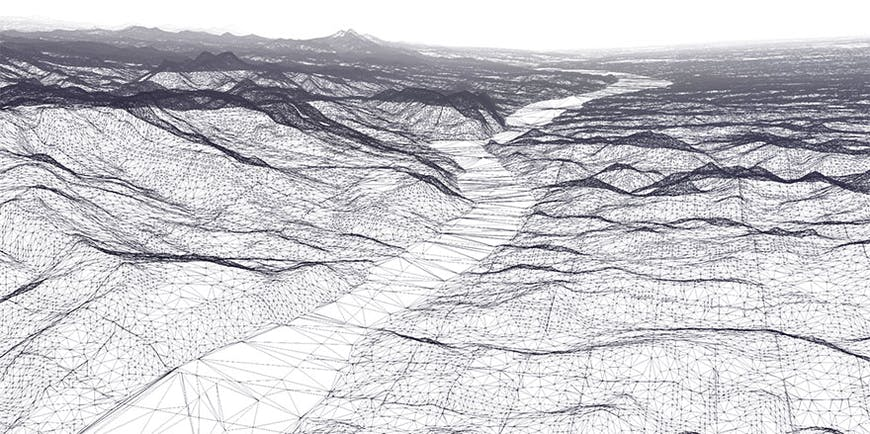Black and white terrain without texture and the 3D Tiles tiles visible.