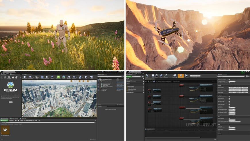 Four images: 1) the UE mannequin standing on a hill covered with flowers, 2) the Cesium drone flying through the Grand Canyon, 3) the UE project UI with Cesium for Unreal open, and 4) the UE Level Blueprint view
