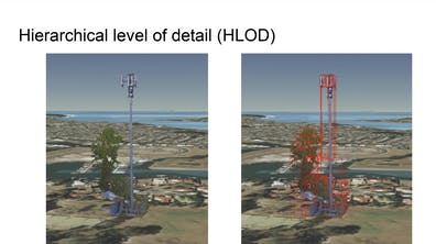 Two side-by-side images of a tower, one with red bounding boxes showing the 3D Tiles that enable hierarchical level of detail
