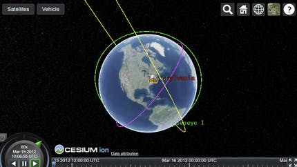 The Earth shown in Cesium with satellite paths shown in a sandcastle