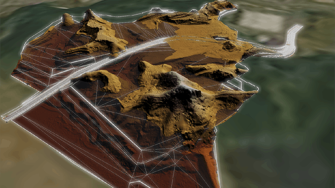 Image showing mesh triangles over a construction site in Cesium.