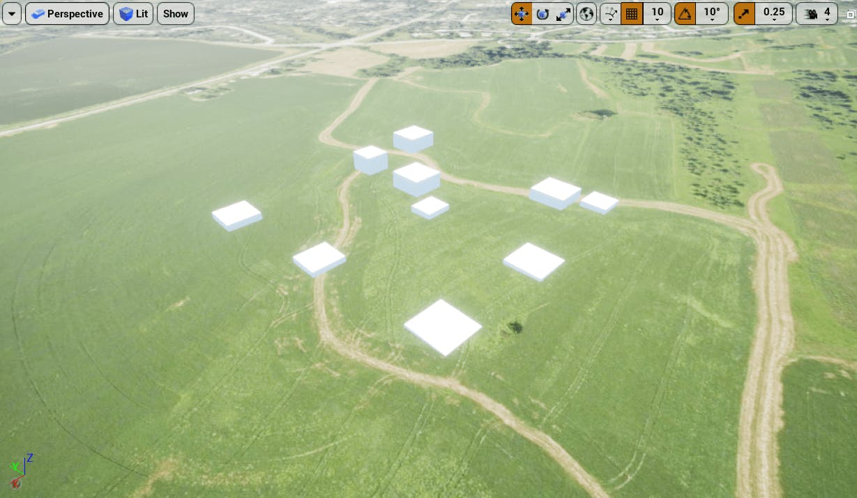 In UE, the tileset in a green field oriented correctly