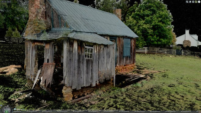 Point cloud data of a wooden cabin. This highly detailed cabin was compressed from a 4.48 GB LAS down to 0.67 GB.