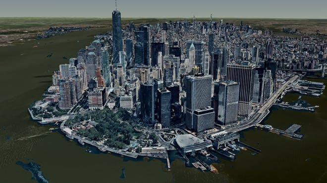 View of 3D buildings on the tip of Manhattan, New York City, tiled and visualized in Cesium ion