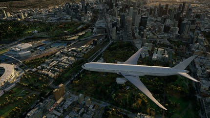 3D rendering of a commercial airplane flying above Houston, Texas