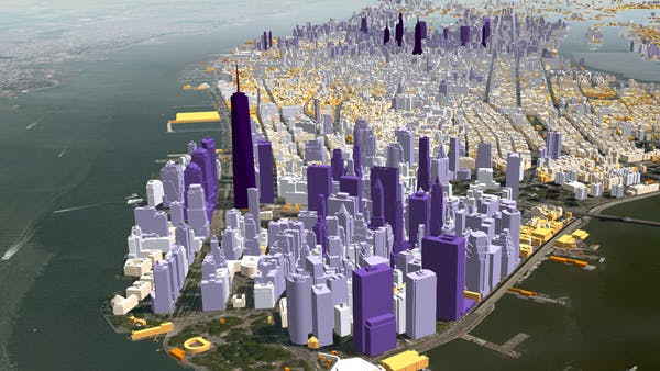 1.1 million Manhattan buildings colored by height at runtime in CesiumJS.