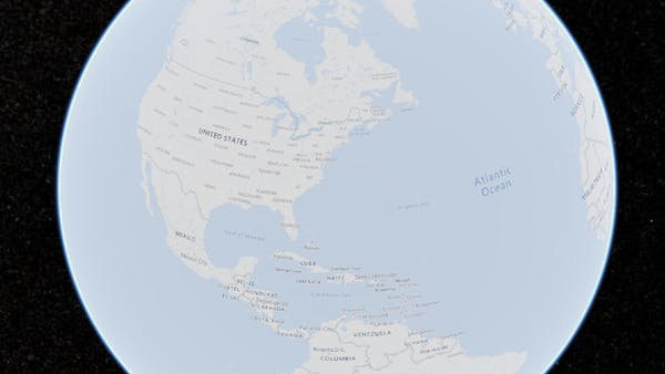 A globe with labeled countries