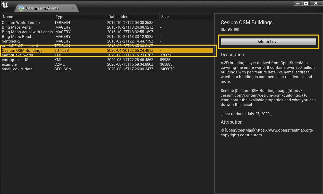 Screenshot of the Cesium ion Assets selector dialog in Unreal Engine