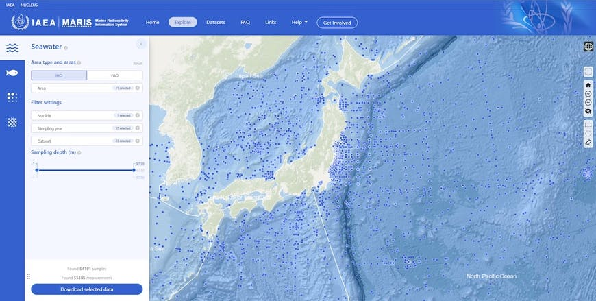 A screenshot of the Maris web site, zoomed in on Japan with blue dots in water to represent locations of seawater samples, and a form for filtering what's displayed. An irregular shape covering part of northern Europe has been selected by the user.