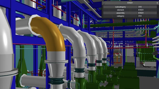 Colorful 3D model of factory interior with lots of pipes and fittings and a panel metadata for an item highlighted in orange