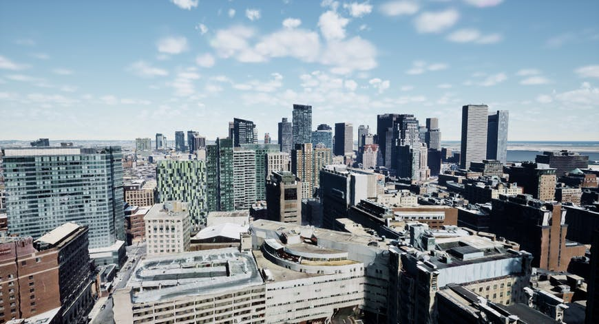 Boston downtown with 3D models created by Nearmap; shown with Cesium for Unreal